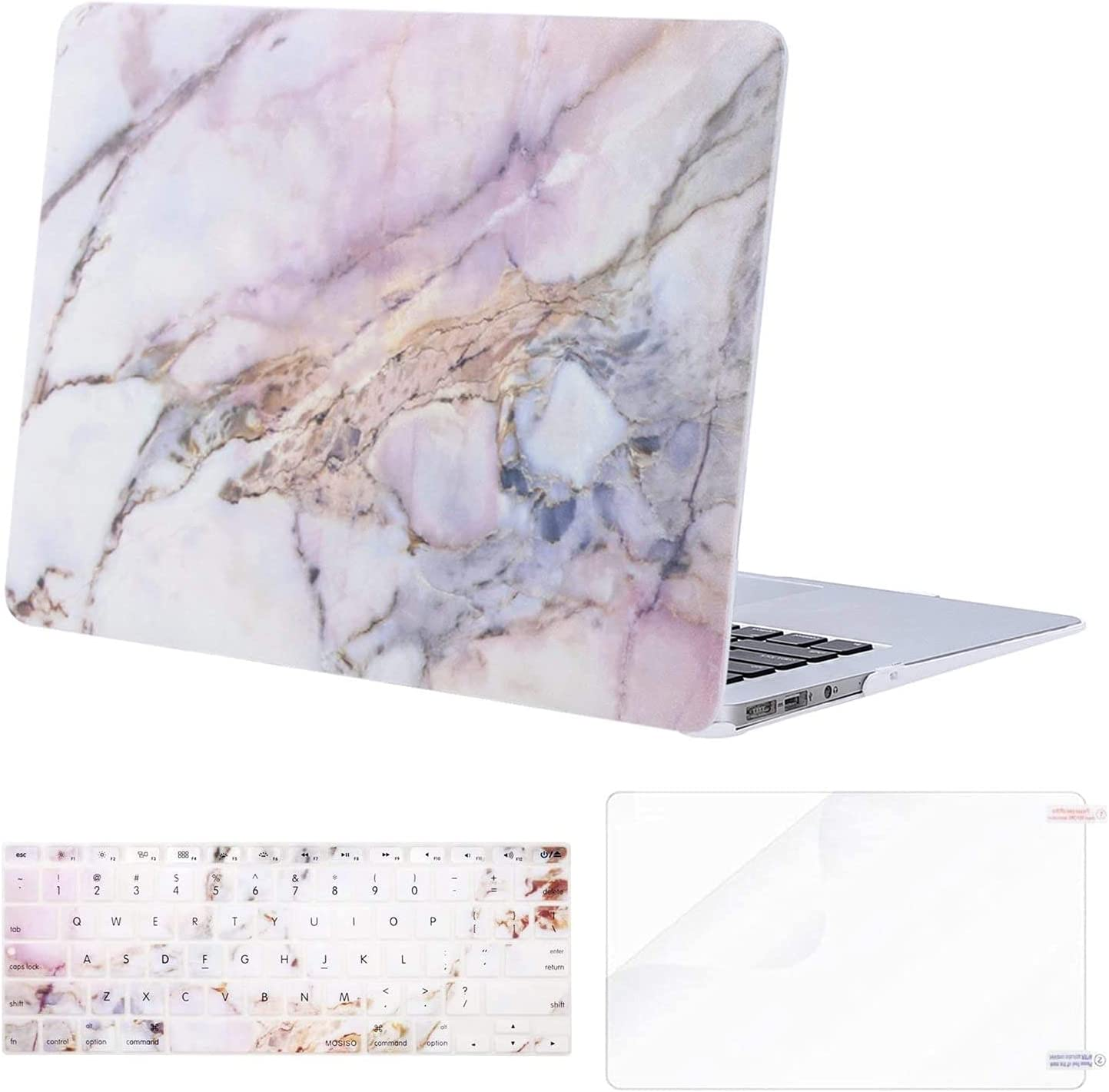 MOSISO Compatible with MacBook Air 13 inch Case (Models: A1369 & A1466, Older Version 2010-2017 Release), Plastic Pattern Hard Shell Case & Keyboard Cover & Screen Protector, Colorful Marble