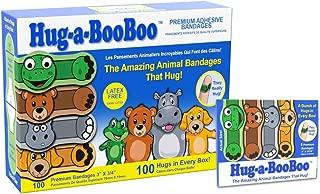 Hug-a-Booboo The Amazing Animal Hugging Kid Bandages 100 Count Box with Bonus Travel Pack