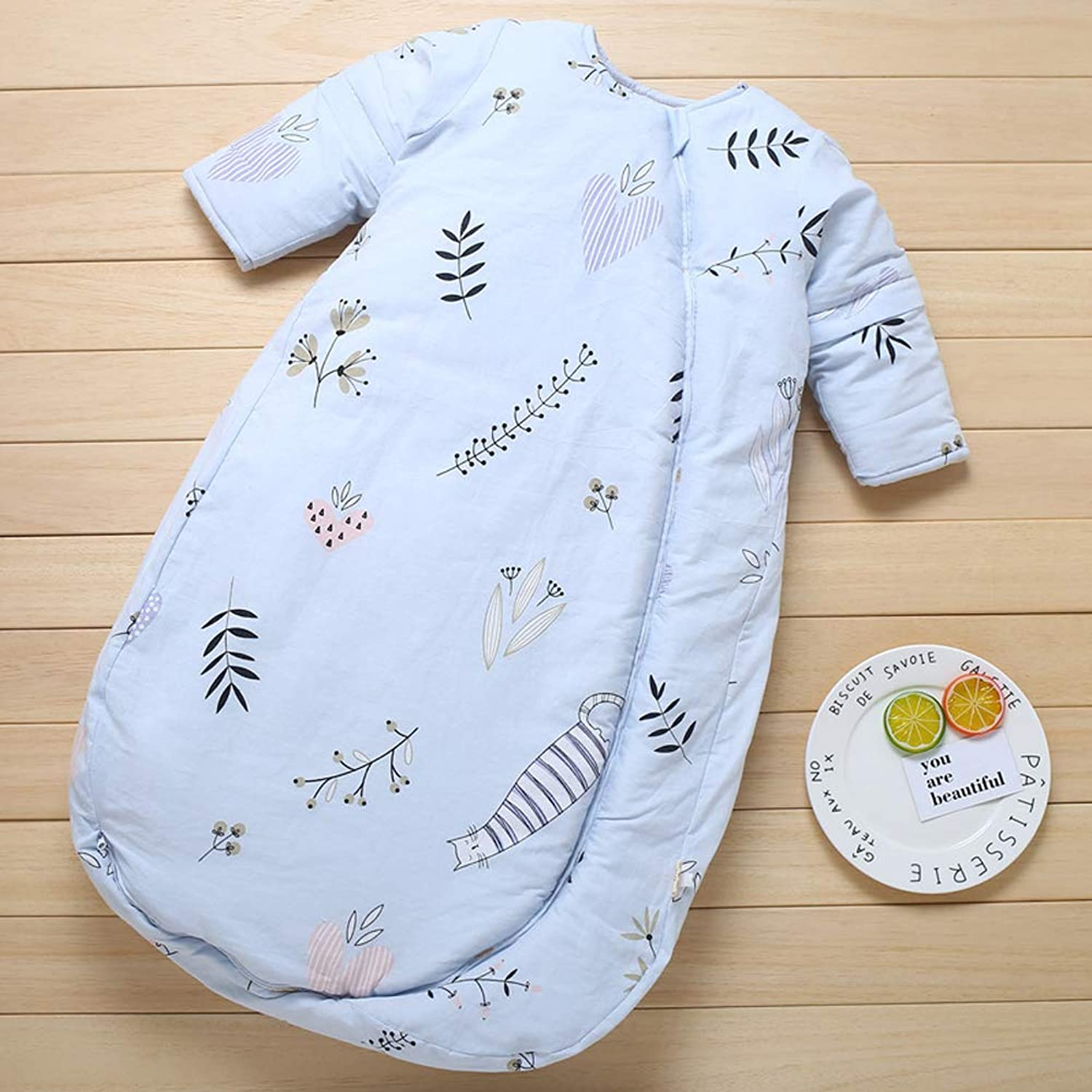 JHion Baby Sleep Sack,Unisex Baby Cotton Removable Long Sleeve Zip up Sleeping Bag Thicken Autumn Winter Flowers bluee 35 Years