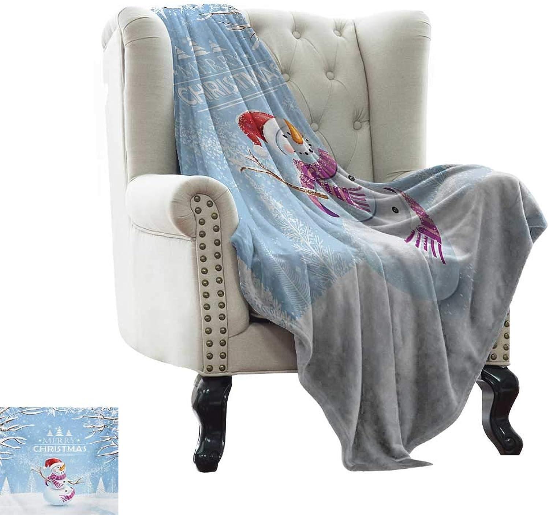 BelleAckerman Flannel Fleece Blanket Christmas,Cute Snowman in a Snowy Winter Day with Xmas Hat Frosty Noel Kids Nursery Theme,White bluee Indoor Outdoor, Comfortable for All Seasons 35 x60