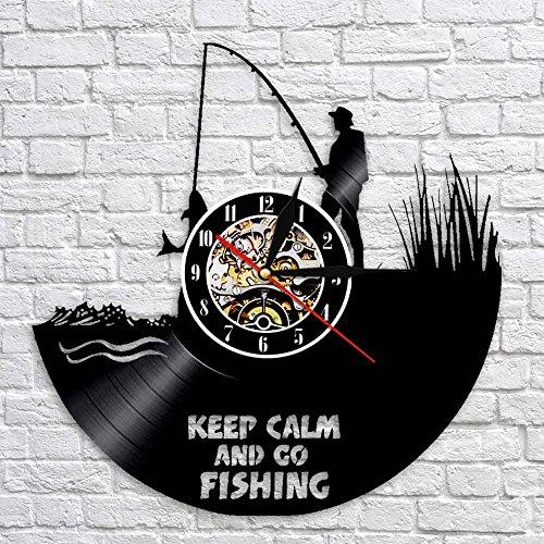 Zachowaj spokój i idź wędkarstwo rybak zabawny cytat zegar ścienny rzeka wędkarstwo płyta winylowa zegar ścienny wędkarstwo miłośnik grafika zegar prezent