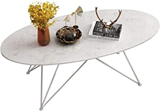 Living Room Furniture Metal Oval Marble Coffee Table End Table - Living Room Wrought Iron Simple White Metal Base Side Tab...