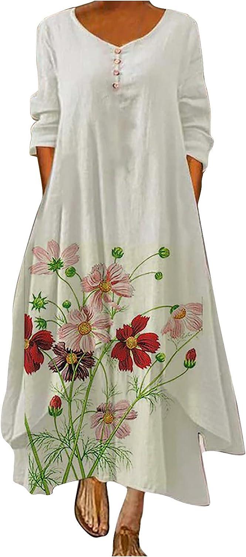 Women Floral Colorful Print Maxi Dress Loose Hem Irregular Long-Sleeved Ankle Long Dresses