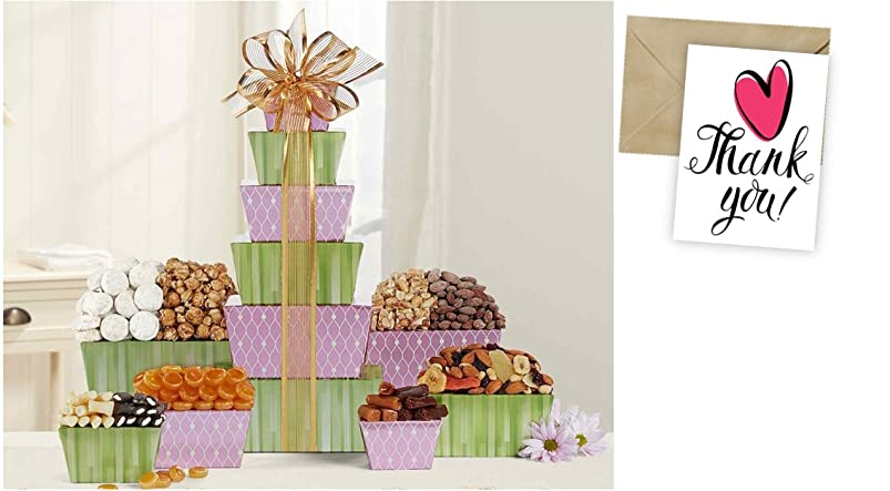 Tower Of Sweets Gift Basket for Thank You and personalized card mailed seperately, CD3279803 evxrcmxb342657