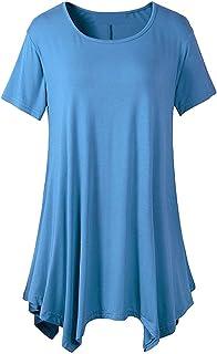 Women's Comfy Short Sleeve Tunic Tops Ladies Round Neck Asymmetric Hem Long Top T-Shirt