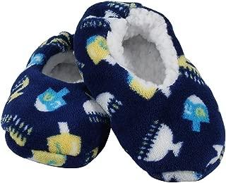 Zion Judaica Hanukkah Snuggle Slippers (Toddler Shoe 4-7)
