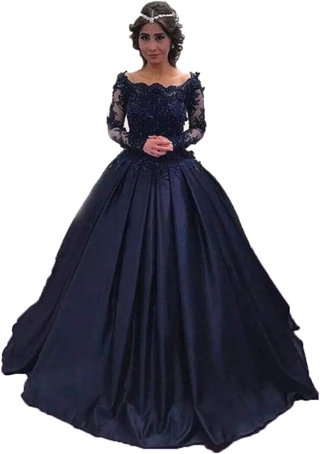 Alexzendra Ball Gown Evening Dress For Women Formal Long Prom Dress With Long Sleeves Navy bluee