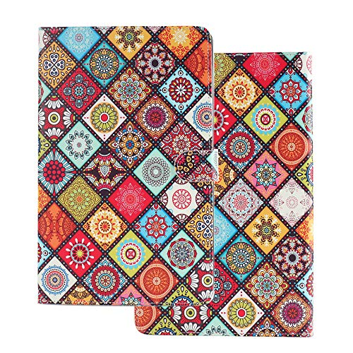 Tablet Case for Universal 10 Inch (9.5-10.5 inch) Flip Smart Cover Leather Wallet with Card Holder for Samsung Huawei Apple Tab 9.6 9.7 10.1 10.2 10.5 Lattice Mandala