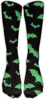ulxjll, Calcetines De Compresión Tubo Verde De Murciélagos De Halloween Medias Frescas Personalizadas Calcetín Alto De Rodilla De Invierno Para Mujer Calcetín Alto De 50 Cm