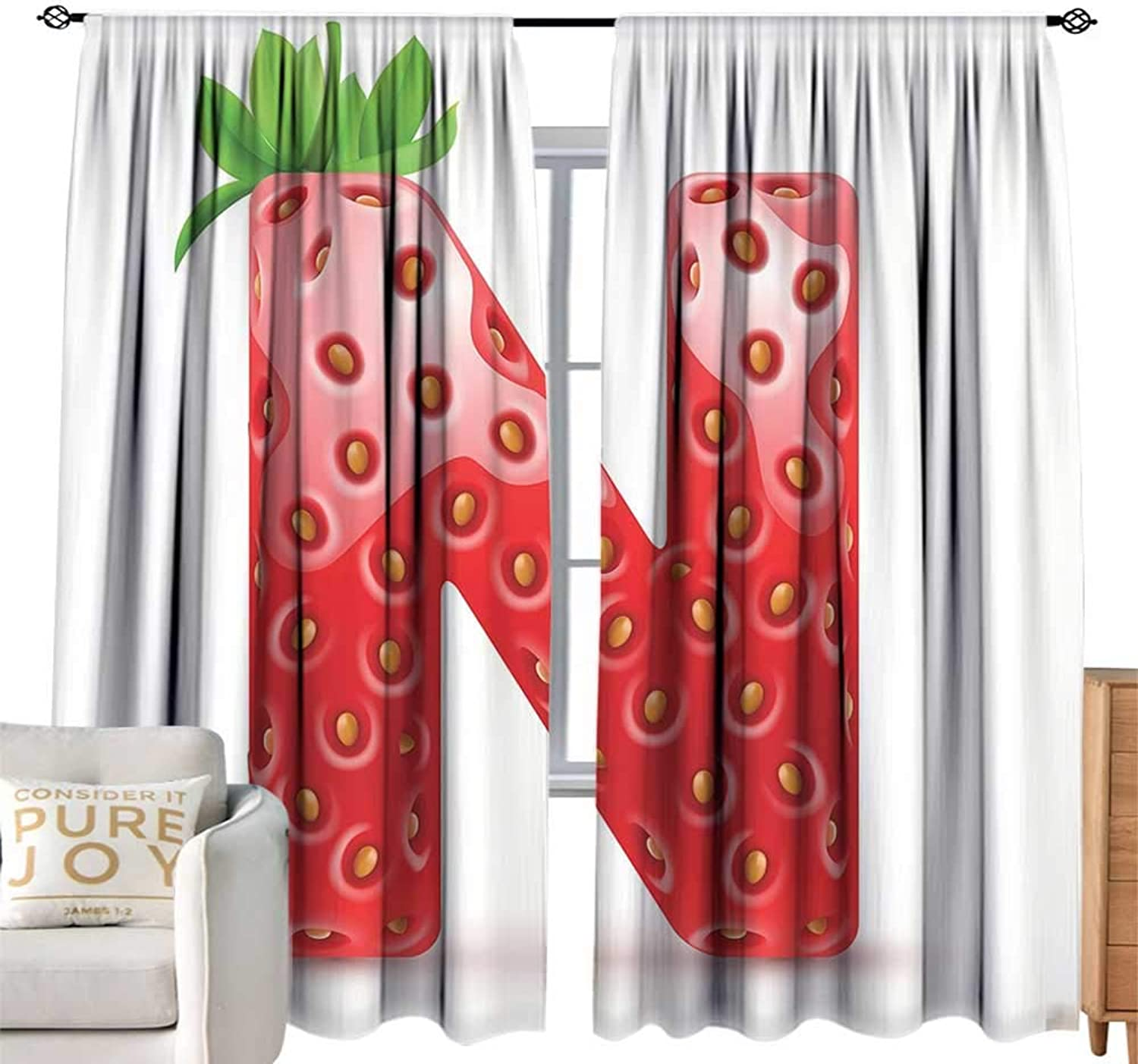 CobeDecor Room Darkened Heat Insulation Curtain Letter N N Letter Capitalized in Red Berry with Various Green Leaves Seeds Vermilion Green orange Privacy Predection W108 xL84