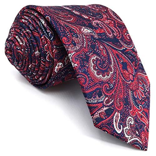 S&W SHLAX&WING Rojo Corbatas Para Hombre Extra Largo Corbatas Boda Cachemir Seda 160cm