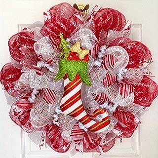Elf Candy Cane Stocking Christmas Deco Mesh Wreath