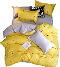 ED-Lumos Cute Yellow Eyelash Design Duvet Cover Set with 2 Pillowcases Bedding 4-Piece Single Size(No Comforter Included)