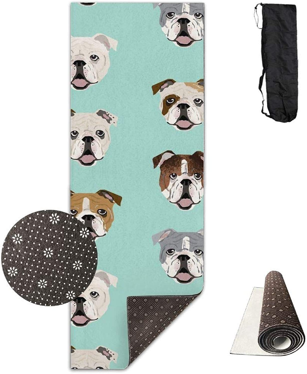 70Inch Long 28Inch Wide Comfort Velvet Yoga Mat, English Bulldog Faces Mat Carrying Strap & Bag