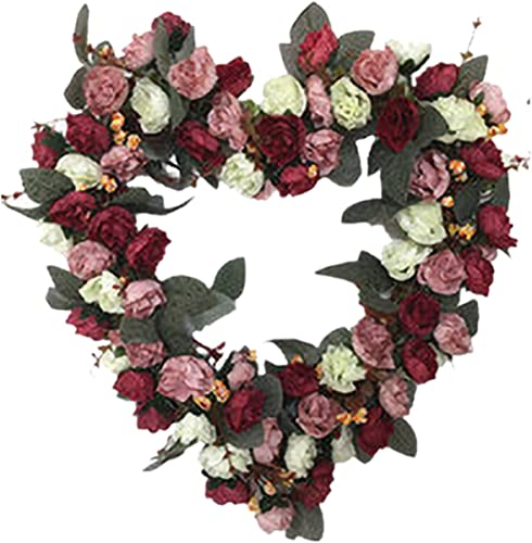 wholesale 14 Inch 2021 Rose Flower Heart Wreath Valentines Day Decor, Peony Flowers Garland Wreath, Handmade Home Decor for Valentine's Day Christmas Party, Simulation Rose online Flowers Wreath Ornament online