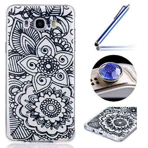 Etsue Case Pour Samsung Galaxy J7(2015),Ultra-minces TPU Silicone Coque Black une fleur pattern Case Pour Samsung Galaxy J7(2015),Diux Chir Housse Noir Motif Cover pour Samsung Galaxy J7(2015) + 1 x Bleu stylet + 1 x Bling poussière plug (couleurs aléatoires)-une fleur