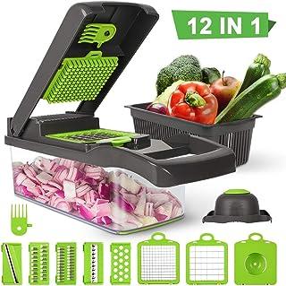 Ksera Picador de verduras, Picador de comida Cortador Rebanadora, Juego de 7 cuchillas intercambiables con contenedor de alimentos para vegetales, frutas, ensaladas, etc