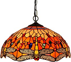ChandelierchandelierTiffany Style Red Dragonfly ChandelierMediterranean Stained-Glass Ceiling LightLiving Restaurant and a...