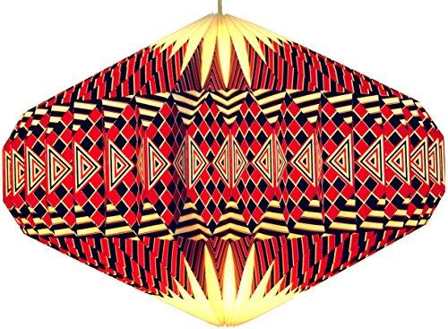 Guru-Shop Origami Design Papieren Lampenkap - Model Ufo/rood, 22x47x47 cm, Aziatische Plafondlampen Papieren Lampen Stof