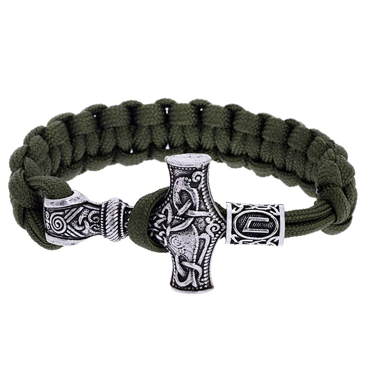 LEEFISH Viking Runes Mjolnir Bracelet, Norse Beard Beads Bangle, Antique Green Handmade Bracelet Thor's Hammer Jelwerly Outdoor for Men and Women
