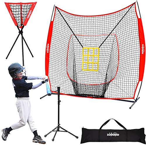 Zupapa 7x7 Feet Baseball Softball Hitting Pitching Net Tee Caddy Set with Strike Zone, Baseball Backstop Practice Net for Pitching Batting Catching for All Skill Levels (Red)