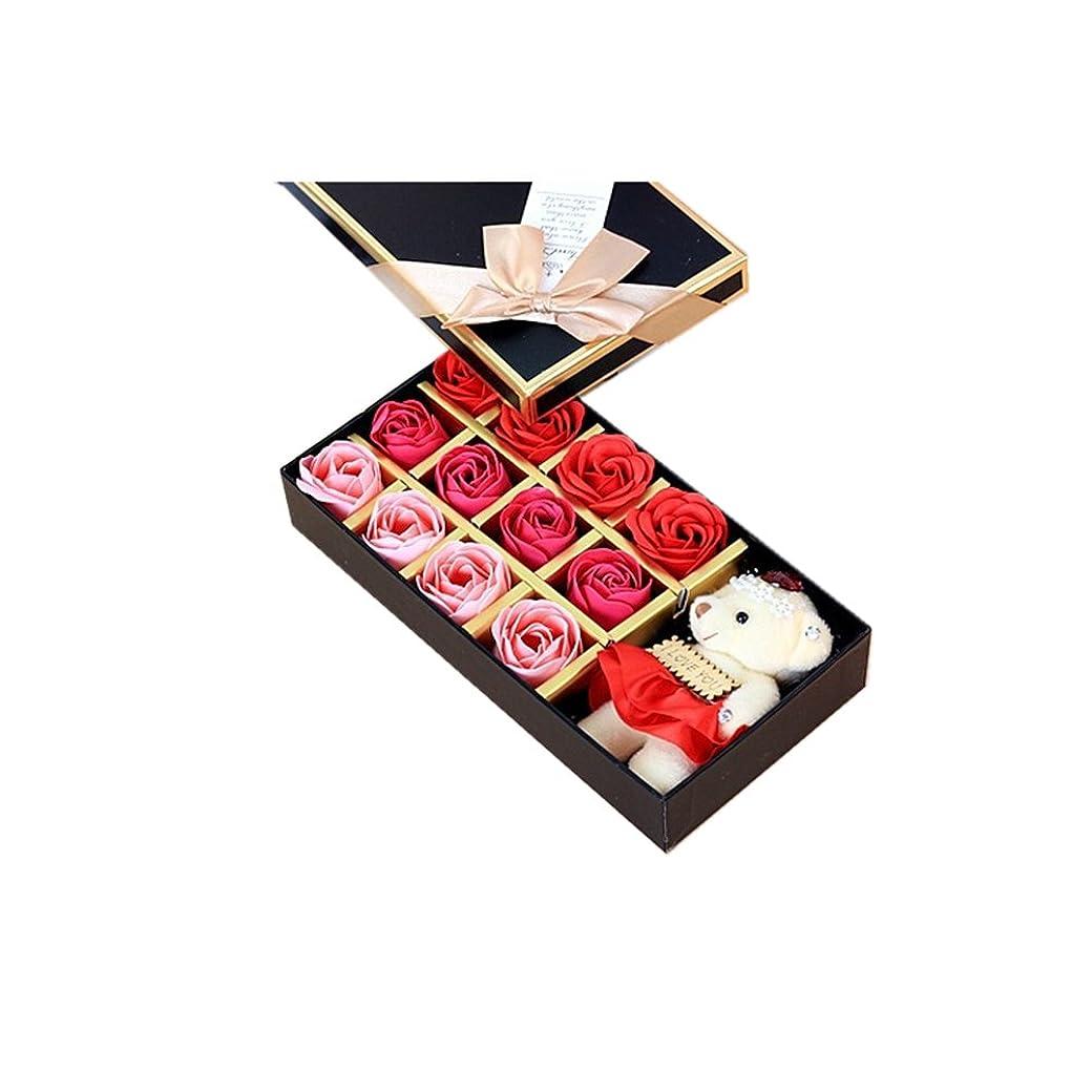 神経権限を与える本当にROSENICE 香り バラの花 お風呂 石鹸 ギフトボックス (赤)