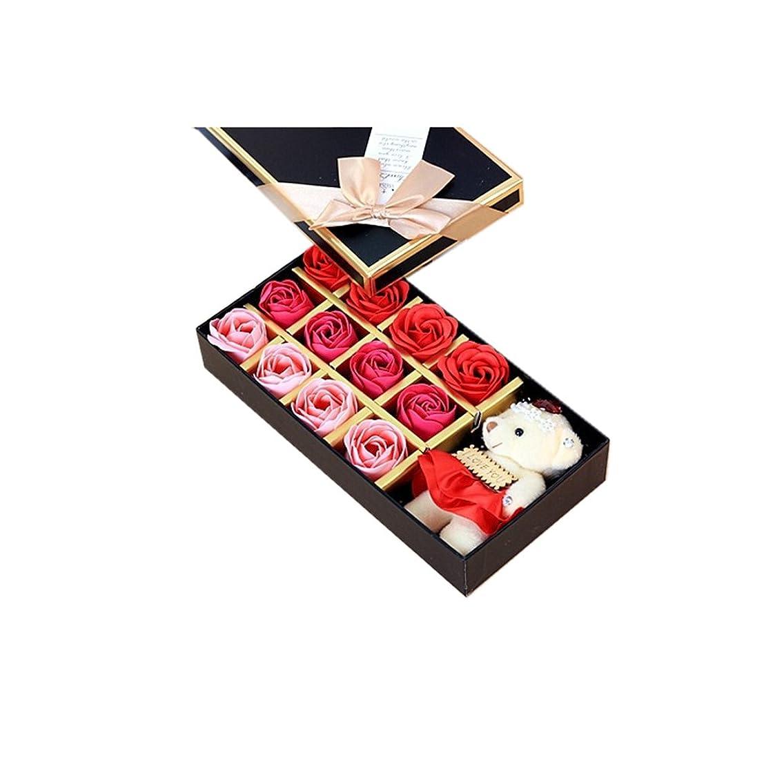 動機暗唱するみすぼらしいROSENICE 香り バラの花 お風呂 石鹸 ギフトボックス (赤)