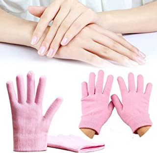 Gel Overnight Hand Moisturizing Gloves for Dry Hand Treatment, Moisture Gloves Overnight- Soften Cotton Skin Spa Gloves with Moisturizer Gel Lining Essential Oils Vitamin Lotion for Hand Softening