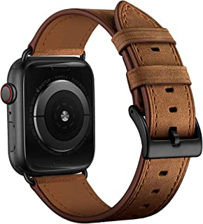 OUHENG Compatible with Apple Watch Band 38mm 40mm, Genuine Leather Band Replacement Strap Compatible with Apple Watch Series 5 Series 4 Series 3 Series 2 Series 1 40mm 38mm, Retro Brown