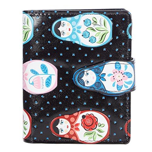Shagwear ® Portemonnaie Geldbörse Damen Geldbeutel Mädchen   Bifold Mehrfarbig Portmonee Designs: (Russische Puppen Schwarz/Russian Dolls)