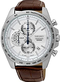 Seiko Men's 44mm Brown Leather Band Steel Case Hardlex Crystal Quartz White Dial Analog Watch SSB263