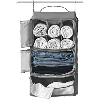 Hanging Portable Luggage Suitcase Closet Shelving Organizer w/hooks| For Travel, Camper, RV |Packing Cube(Grey)