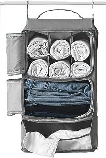 Hanging Mesh Luggage Bags Suitcase Closet Organizer Insert Packing Cube w/Hooks  Shelving   Waterproof   for Travel(Grey)