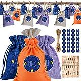 Calendario de Adviento para rellenar, 24 bolsas de tela, saquitos de yute con cordón, pegatinas de 24 números, bolsas reutilizables para calendario de Navidad, juego de manualidades y decoración DIY