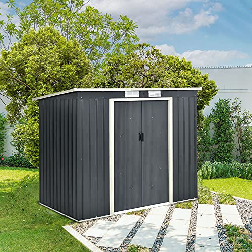 Juskys Metall Gerätehaus M mit Pultdach, Schiebetür & Fundament   4m³   anthrazit   Geräteschuppen Gartenhaus Schuppen Metallgerätehaus - 3