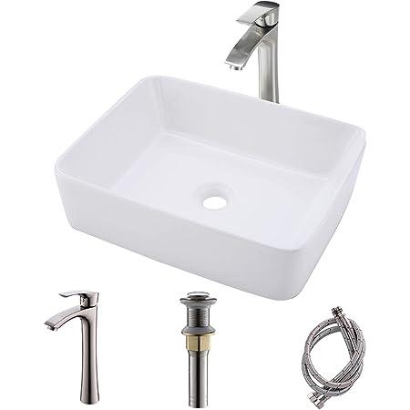 Bathroom Sink And Faucet Combo Bokaiya 19x15 Bathroom Vanity Vessel Sink White Rectangle Above Counter Porcelain Ceramic Bathroom Vessel Sink Art Basin Faucet Matching Pop Up Drain Combo