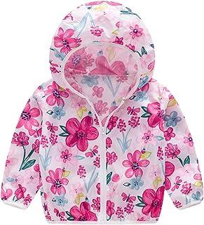 Allegorly Kinder Mädchen Jungen Floral Bedruckter Frühling mit Kapuze Licht Mantel Reißverschluss Jacke Tops Sonnenschutz Kleidung 1-6 Jahre