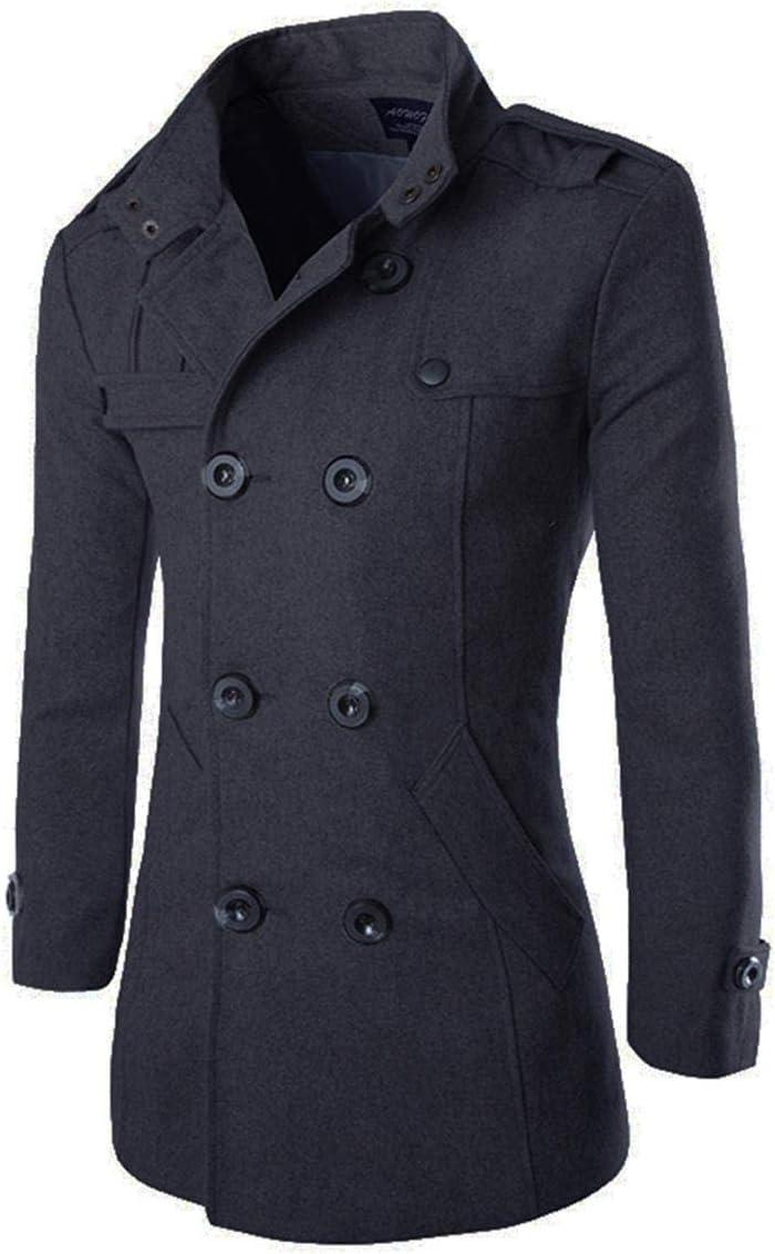 معطف AOWOFS للرجال متوسط طويل من مزيج الصوف البازلاء معطف مزدوج الصدر بياقة واقفة