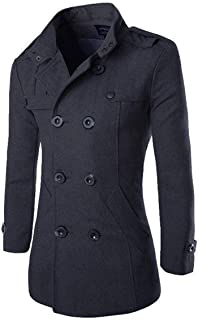 AOWOFS Men's Mid Long Wool Woolen Pea Coat Double Breasted Stand Collar Overcoat Winter Trench Coat