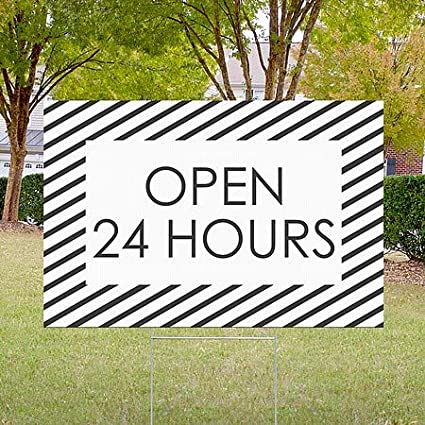 Stripes White Double-Sided Weather-Resistant Yard Sign CGSignLab Open 24 Hours 5-Pack 18x12