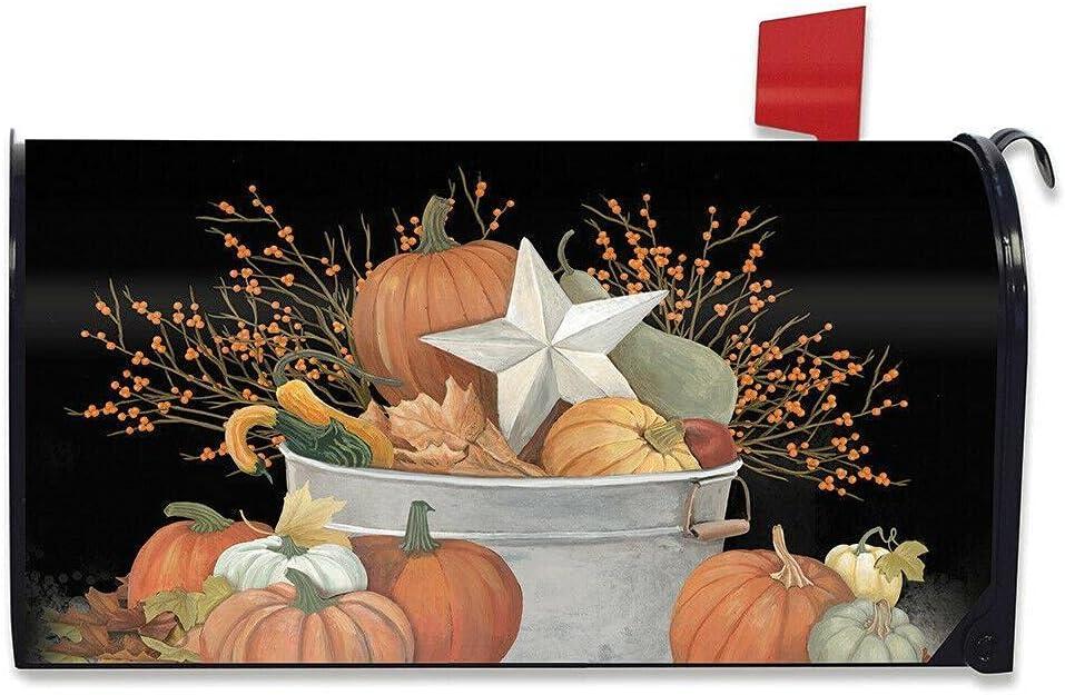 Colorado Springs Mall Valli Fall Bushel Primitive Large Free Shipping New Pumpkin Magnetic Mailbox Cover