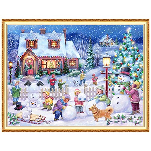 Christmas Diamond Paintings Kit for Adults Diamond Art Christmas Craft Kits 5D Christmas Snowman House Diamond Painting Full Drill by Number Kit for Beginner Xmas Gift Home Wall Décor 12x16 inch