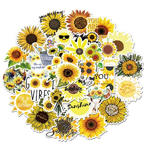 You are My Sunshine Sunflower Stickers, 50pcs, Sunflower Vine Themed Decal,...