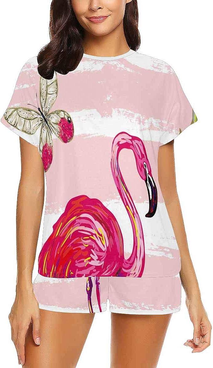 InterestPrint Tropical Butterflies, Flamingo and Pineapple Women's Pajama Sets Short Sleeve Shorts - Pajamas for Women