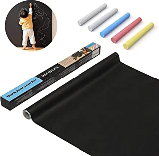 Wpxmer Large Blackboard Adhesive Paper Chalkboard Decal Wall Sticker with 5 Colorful Chalks, Blackboard Contact Paper Measures 17.7
