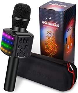 $30 » BONAOK Wireless Bluetooth Karaoke Microphone with controllable LED Lights, 4 in 1 Portable Karaoke Machine Speaker for Android/iPhone/PC(Black)