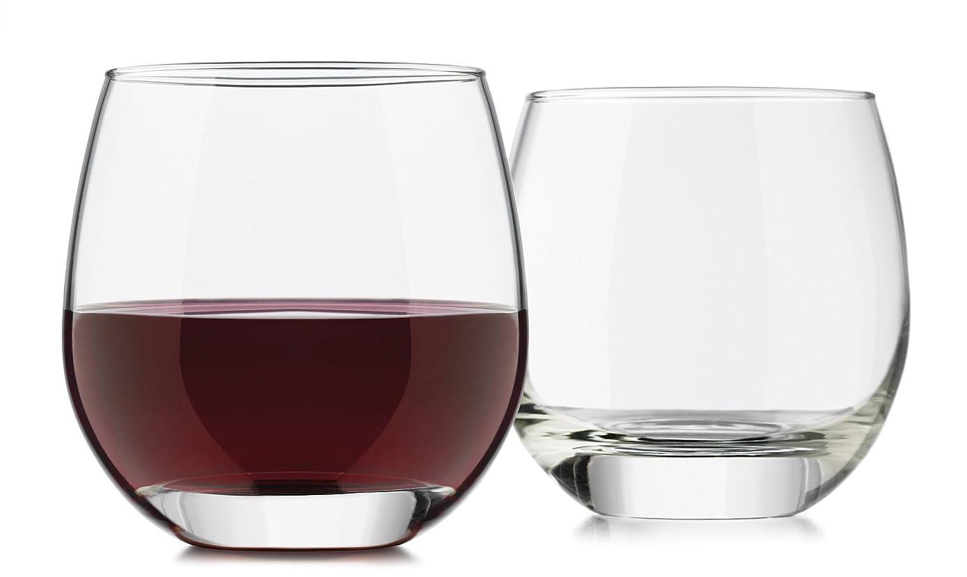 挨拶会員ロケーションLibbey 4-Piece Alyse Stemless Heavy Base Red Wine Glass, 440ml, Clear