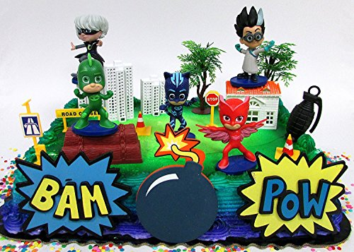 Super Hero PJ MASKS Deluxe Birthday Party Cake Topper Set Featuring Figures and Decorative Accessories