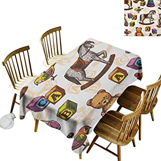 kangkaishi Waterproof Anti-Wrinkle no Pollution Long Tablecloth Retro Style Kids Toys Rocking Horse Teddy Bear and Bird Illustration Print W14 x L72 Inch Brown and Grey