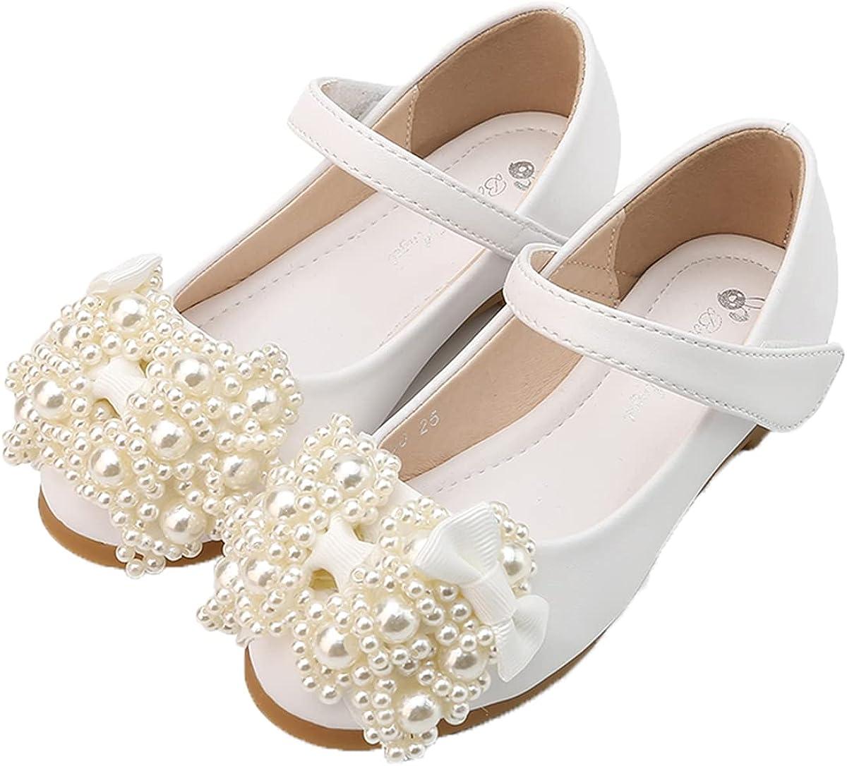 JOEupin Mary Jane Front Bow Heart Rhinestone Buckle Ballerina Flat (Toddler/Little Girl)